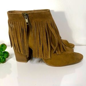 Carlos Santana Brown Leather Fringe Ankle Boots